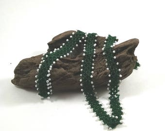 Beaded Green Diamond Weave, Right Angle Weave Necklace