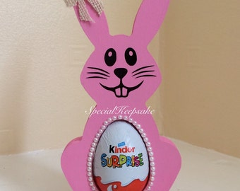 Personalised Easter Bunny Kinder Surprise Egg Holder Creme Egg Easter Egg Hunt Fun Unique Chocolate