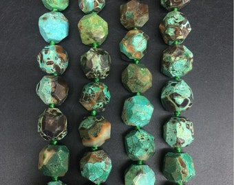 Approx 21pcs/str,Green Ocean Jasper Faceted Nugget Beads pendants,Natural Freeform Tiny slice necklaces jewelry Bulk 16-18x16-18mm
