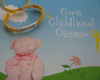 Childhood Cancer Survivor, St. Baldrick's Fund Raiser, Handwoven Adjustable Golden Yellow Nylon Shambala Bracelet