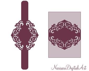 Wedding Invitation cutting file. Belly band laser cut Template, Floral wreath monogram frame / border, 5x7'' SVG, DXF, Silhouette Cricut
