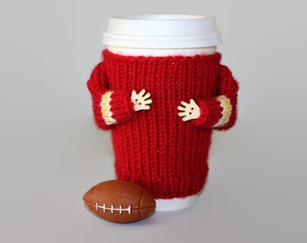 Coffee cozy. Football cup sleeve. Red gold. Tumbler sleeve. Travel mug sleeve.  Sport travel mug.  Mug sweater. Coworker gift. Football gift