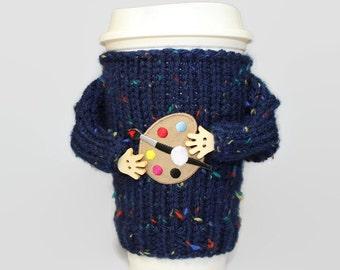 Art teacher gift. Cup sleeve. Art teacher tumbler. Knit mug. Coffee cozy. Tea cozy. Travel mug cozy. Funny mug sweater. Gifts for artists