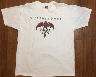 Vintage queensryche t shirt mens xl 90s rock n roll band tee concert world tour 80s
