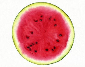 Watermelon Painting, Original Watercolor Painting of Watermelon,  Minimalist Painting, Fruit Art