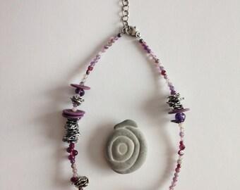 9.25 Silver Necklace Oxidized  and amethyst No Mold, molten silver