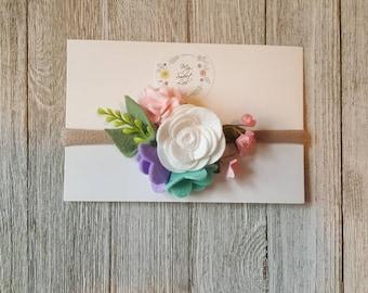 Small Pastel Floral Crown ~ Felt Floral Headband ~ Flower Headband ~ Felt Flower Headband ~ Floral Hair Clip ~ Baby Headband ~ Photoprop ~