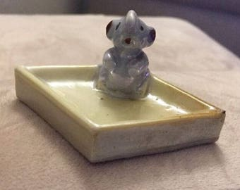 Vintage Trinket Holder Mouse & Cheese Made in Japan.  ID# 15-59