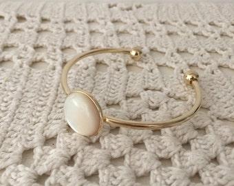 White Seashell Bracelet , Gold plated open bangle with white seashell cabochon , Modern Everyday Jewelry.