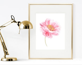 Pink rose watercolor painting, printable Watercolor flower, instant download watercolor art print, rose watercolor painting, pink home decor
