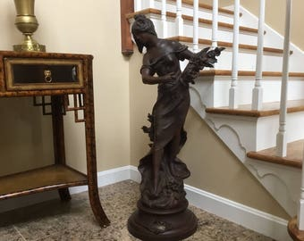 Antique Art Nouveau Moreau Spelter French Figural Newel Post Statue Huge