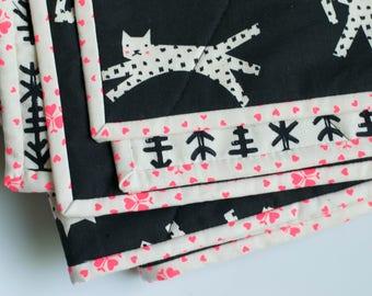 monochrome baby quilt, black white quilt, leopard quilt, girl toddler quilt, girl baby bedding, black quilt, modern wholecloth quilt