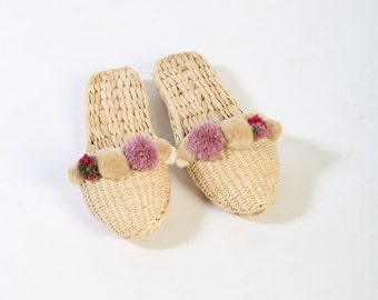 ss17 Mod Mauve straw and pom pom slipper, Folk Fortune, straw slippers, slides and mules, house shoes, raffia slippers, hand woven, pom pom