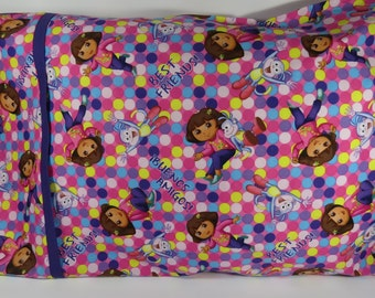 Dora Dora Pillow Case, Dora Dora and Boots Pillow Case, Pillow Case for Kids, Dora Dora Bedding, Dora Dora and Boots Fabric, Children Gifts