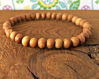 6mm Sandalwood Bracelet, Stacking Sandalwood Mala Beads, Meditation, Buddhist Yoga Jewelry, Emotionally Soothing - Tranquility - Meditation
