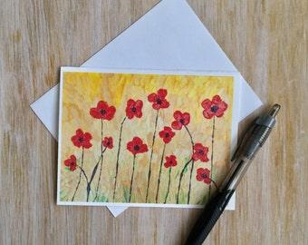 Floral Note Card - Flower Card with Envelope - Poppy Card - Handmade Card - Blank Card - Custom Note Card - Mini Art Card