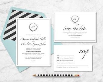 Classic monogram Wedding Invitation // printable vintage wedding suite // black and white elegant design for you to print yourself!
