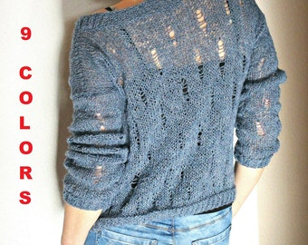 Knit loose sweater Loose knit pullover Blue knit sweater Women's knit sweater Women's knit jumper Hand knit sweater Crochet sweater