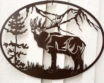 Elk Wildlife Scene Metal Art