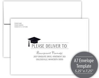 Graduation Fiesta A7 Envelope Template --- Instant Download --- Printable --- #C252-IE