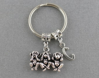 Tree Wise Monkeys Keychain - Speak No Evil, See No Evil, Hear No Evil Money Keychain with Initial - Select Initial At Check Out, Monkey Gift