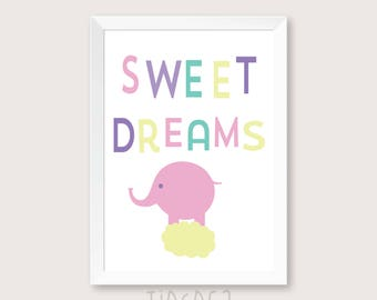 Sweet dreams nursery print, Elephant nursery decor, children room decor, digital print, wall art printable quote, nursery art, kid printable