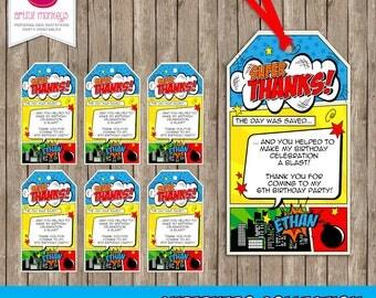 Printable Retro Comic Superhero Party Favor Tags | Personalized