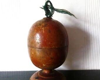 Antique ext Rare Wooden Pin Cushion Balkans Folk Art 19c.