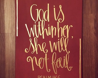God Is Within Her She Will Not Fail | Psalm 46:5 | Bible Verse Hanging Canvas | Scripture Wall Art