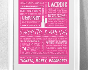 """ABSOLUTELY FABULOUS, """"Sweetie, Darling"""" Typography Print"""