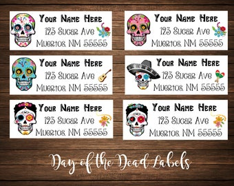 Day of the Dead / Dia de los Muertos / Sugar Skulls Address Labels, Mailing Labels