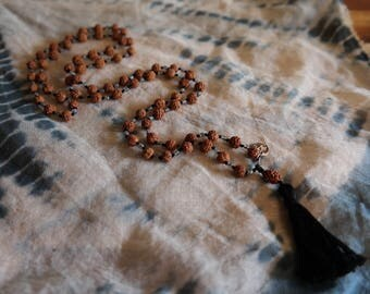 Natural redraksha and labradorite mala necklace with cotton tassle and 950 sterling silver om charm