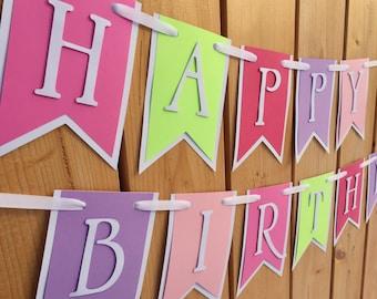 custom pink purple happy birthday banner, banner, birthday banner, happy birthday banner, girl birthday, girl birthday banner,first birthday