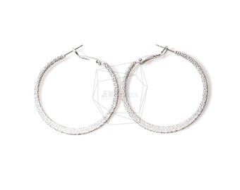 ERG-412-MR/2PCS/Small Textured Hoop Earring Post/40mm/Matte Rhodium Plated over Brass