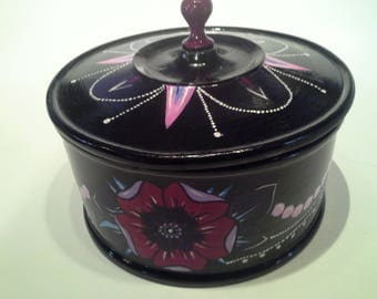Hand painted wooden jewelry box with lid
