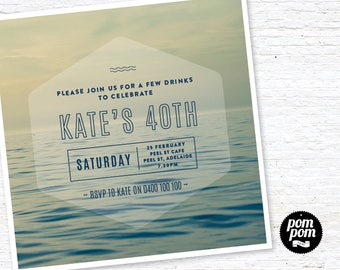 Calm Seas Age Invitation - PRINTABLE DIGITAL FILE
