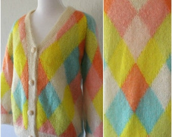 Vintage Pastel Argyle Mohair Wool Blend Lined Cardigan 1960's by Cyn Les Size Medium