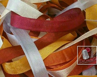 7 X 2 yards = 14 verges,  rayonne ribbon, 12mm, White, gold, pumpkin, pink baby, lilac, brick, rubis