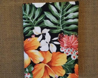 Handmade fabric covered journal, Hawaiian tropical lehua and hibiscus flowers with leaf print 4.5 in by 6.5 in