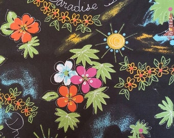 Hawaiian fabric, tropical fabric, paradise dream, tropical flowers, tropical scenery on black background, fat quarter