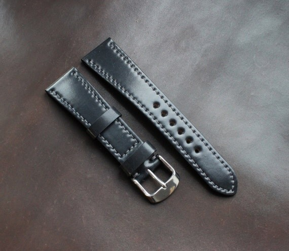 20/16mm Black Horween Shell Cordovan watch strap - lined and full stitching