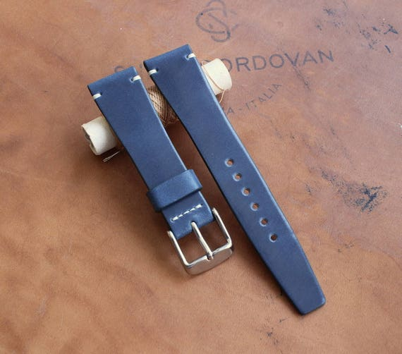 19/16mm Blue Tuscany Shell Cordovan watch band - simple side stitch