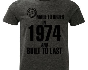 1974 Birthday T-Shirt. Made to Order/Built to Last design. Mens Charcoal Marl Grey.