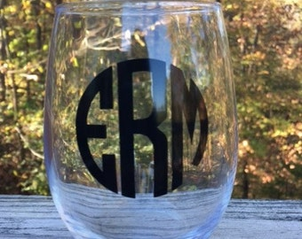 Monogrammed Stemless Wineglass
