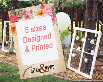bridal shower photo prop wedding photo prop wood and floral design customized for any events instagram frame prop
