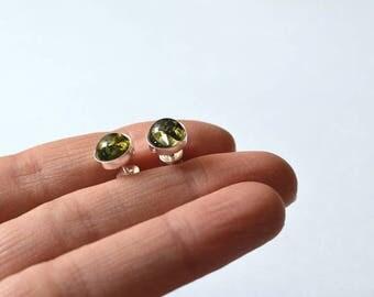 Amber Stud Earrings, Green Amber Post Earrings, Amber Earrings, Stud Earrings, Gift Ideas, Gemstone Stud Earrings