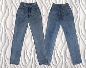 "80's KONANGE - 27"" - High Waisted Acid Wash Denim Jeans"