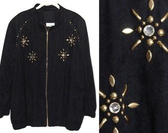 Vintage 80s Jacket Retro Jacket Rhinestone Jacket Zip Up Jacket 90s Jacket Hipster Jacket Hip Hop Jacket Sparkly Jacket Kitschy Jacket