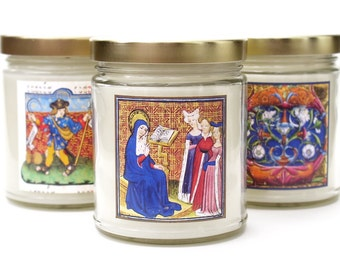 ILLUMINATIONS, Scented Candle, Medieval Decor, Illuminated Manuscript, Art History Gift, Holiday Candles, Soy Blend Wax, Renaissance Candle