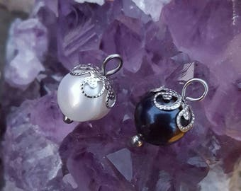 Black or White Freshwater Pearl Charms 8mm (Addition to Pendants) Thoughtfullkeepsakes Shop